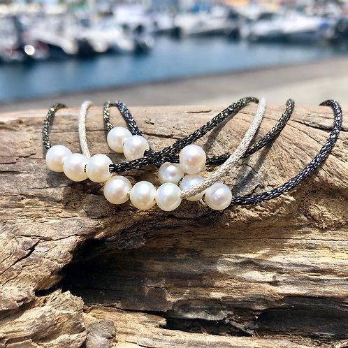 Bracelet Triple Lurex  Perles d'eau✨⚪️