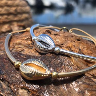Bracelet cauri or & argent