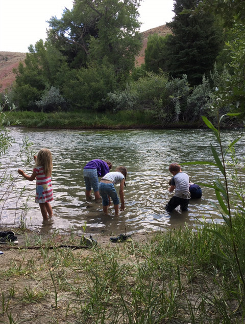 Kids playing in the river which is on the area
