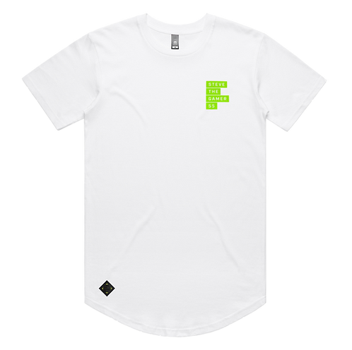 White and Green Short Sleeve Tee