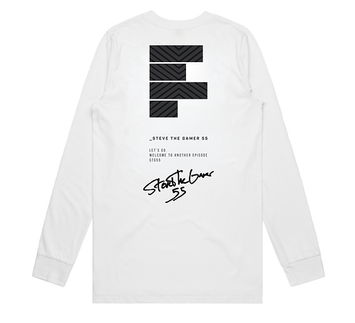Autographed White and Black Long Sleeve Tee