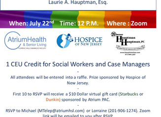 7/ 22 Join this Free Zoom event and learn about legal documents & the benefits of hospice.