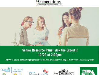 10/29 at 2pm Senior Resource Panel: Ask the experts