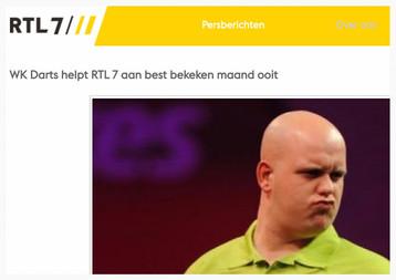 """WK Darts helpt RTL 7 aan best bekeken maand ooit"", Mediacourant, 2 januari 2014"