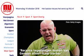 """""""'Recente tegenslagen maken Van Gerwen alleen maar sterker'"""", NuSport, 26 oktober 2017"""