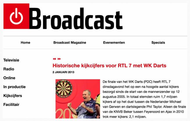 """""""Historische kijkcijfers voor RTL 7 met WK Darts"""", Broadcast, 2 januari 2013"""