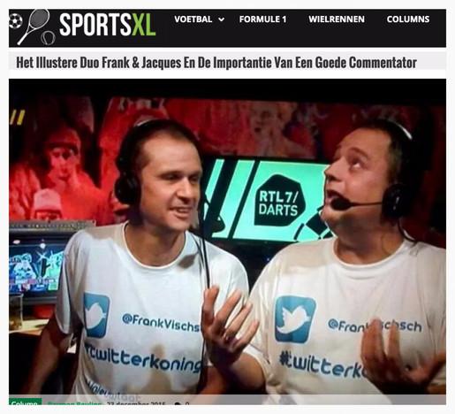 """""""Het illustere duo Frank & Jacques en de importantie van een goede commentator"""", SportsXL, 23 december 2015"""
