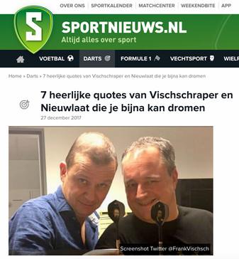 """""""7 heerlijke quotes van Vischschraper en Nieuwlaat die je bijna kan dromen"""", sportnieuws.nl, 27 december 2017"""