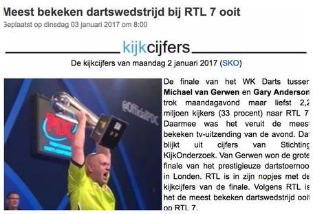 """""""Meest bekeken dartswedstrijd op RTL7 ooit"""", Mediacourant, 3 januari 2017"""