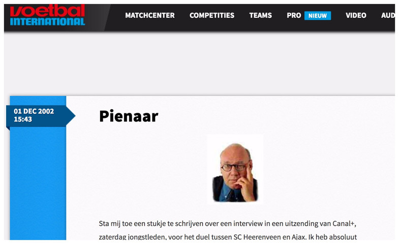 """Pienaar"", column Kees Jansma, Voetbal International, 1 december 2002"