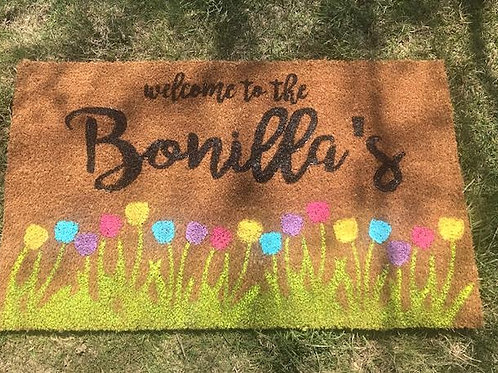 Spring Welcome Mat -Family Name - Yellow Blue Purple Pink