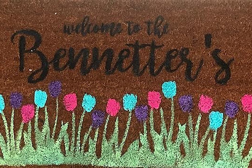 Spring Welcome Mat - Family Name - Blue Purple Pink
