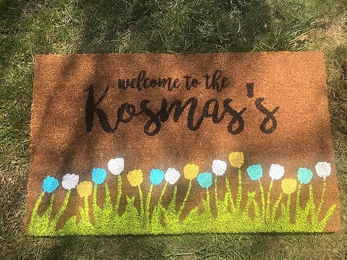 Spring Welcome Mat - Family Name - Blue White Yellow