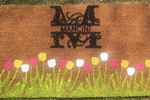 Spring Welcome Mat - Family Initial Monogram - Pink Yellow White