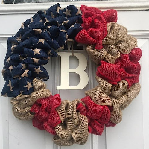"""18"""" Patriotic Burlap Wreath"""