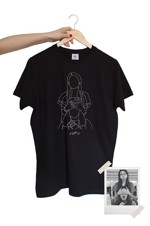 Schwarzes Unisex Shirt mit One Line Art Print