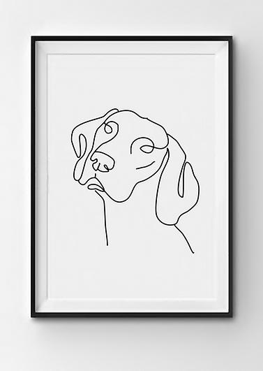 personalisiertes One Line Art Poster in weiß