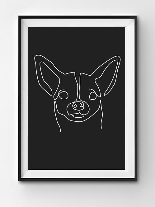 personalisiertes One Line Art Poster in schwarz
