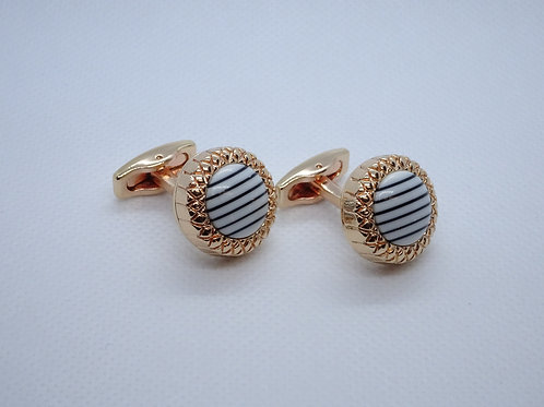 Cufflinks Gold and White Striped