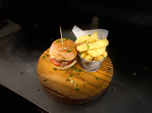 BBQ pulled pork bap with herb fries