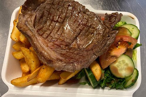 Minute steak, fries and salad