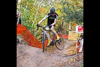 Jack whipping his cross bike in a Belgian Superprestige race.