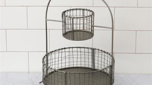 two tiered metal basket for cutlery,kitchen,serving.