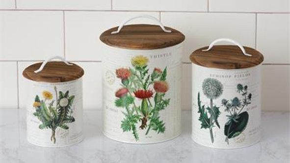 Kitchen Storage Tins. with lids,set of 3. thistle,echinop,dandelion flowers