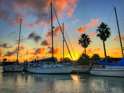 8x10 Print of Sunset Over Sailboats