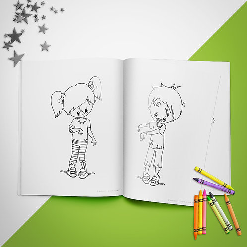 Halloween Zombie Kids Coloring Book Pages