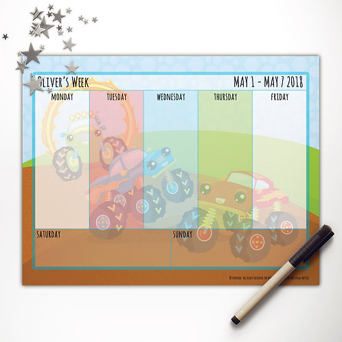 Monster Trucks + Friends Weekly Calendar