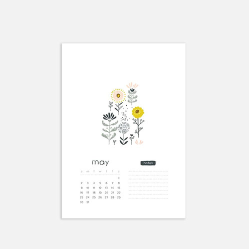 Whimsical Ye.05 Monthly Full Sheet Calendar