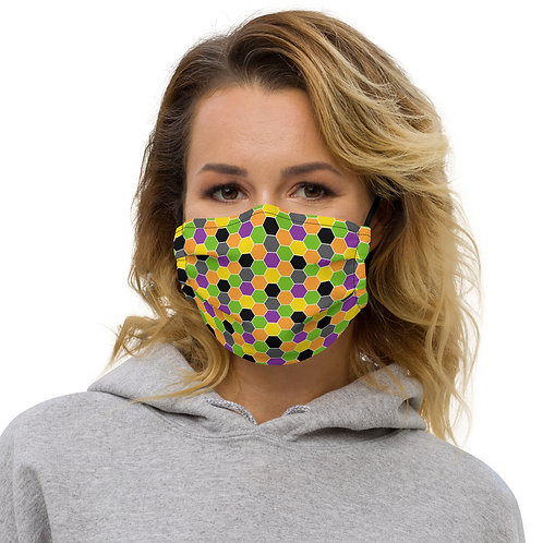 Halloween Reapers Hexagons Premium Face Cover with Pocket