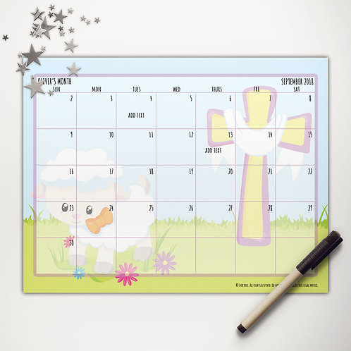 Blessed Easter Sheep Monthly Calendar