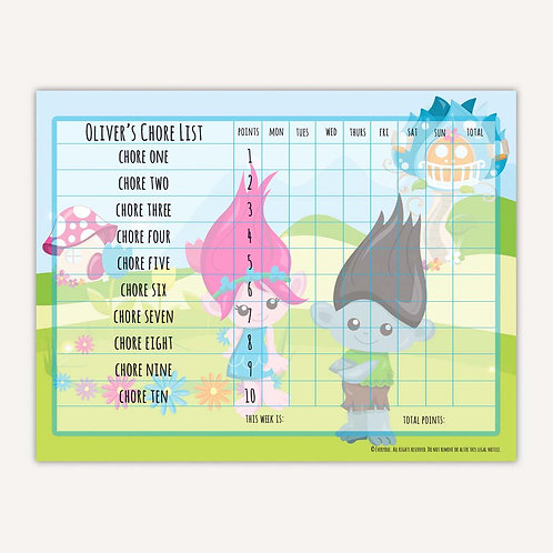 Bright Troll Fun Basic Chore Chart with Points