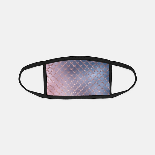 Blush + Navy Ombre Mermaid Scales Black Edge Face Cover