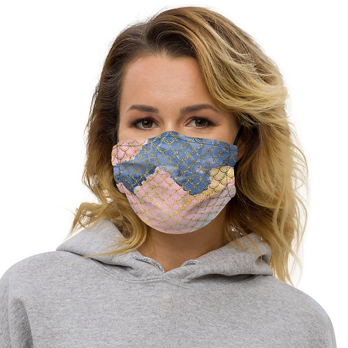 Blush + Navy Trident Mermaid Scales Premium Face Cover with Pocket