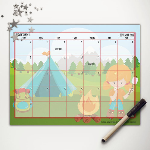 Tent Camping Girl Monthly Calendar (custom character)