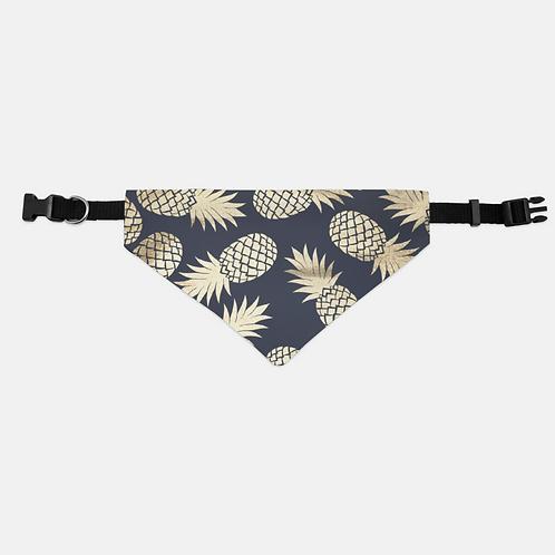 Navy + Gold Pineapples Pet Bandana Collar