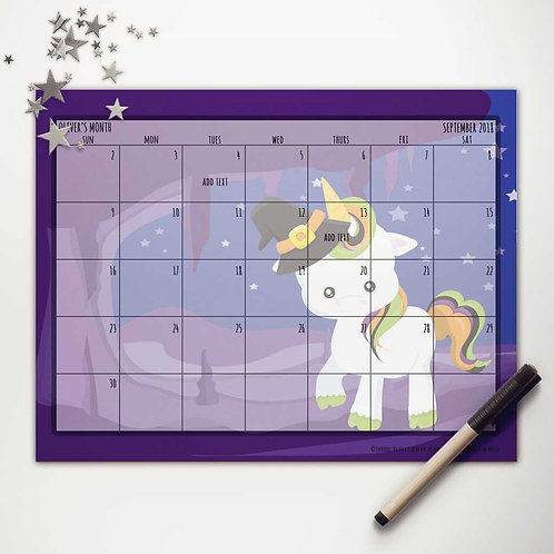 Witchy Unicorn Monthly Calendar