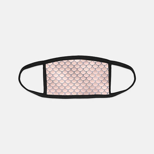 Blush + Navy Foiled Mermaid Scales Black Edge Face Cover