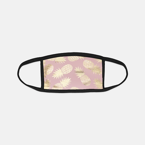 Blush + Gold Pineapples Black Edge Face Cover