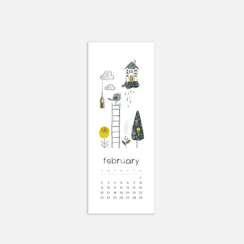 Whimsical Ye. February 2020 Half Sheet Calendar