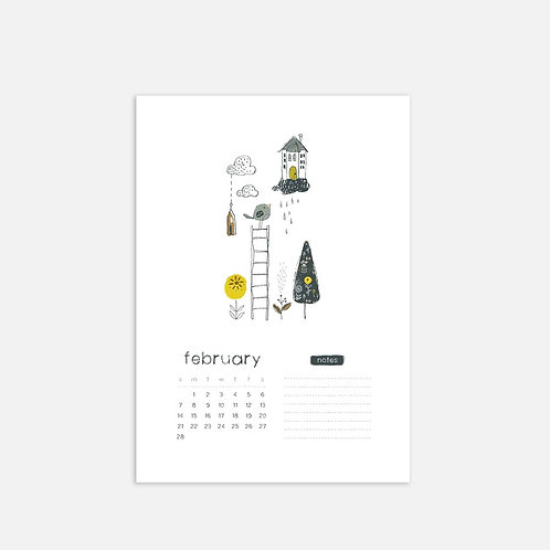 Whimsical Ye.02 Monthly Full Sheet Calendar