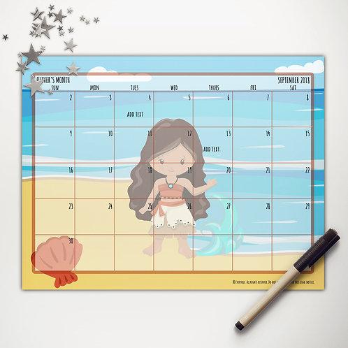 Beach Princess Monthly Calendar