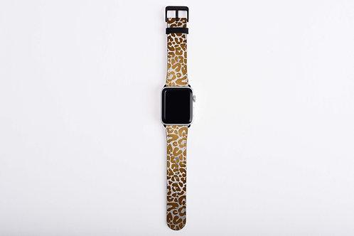 Luxury Safari Snow Gold Leopard Apple Watch Band