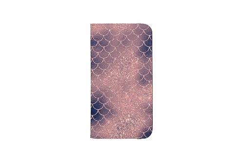 Blush + Navy Cotton Candy Mermaid Scales Folio Wallet Case