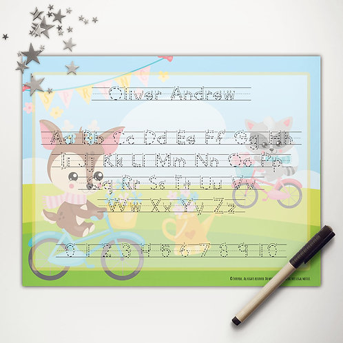 Spring Bicycle Friends Writing Mat (print)