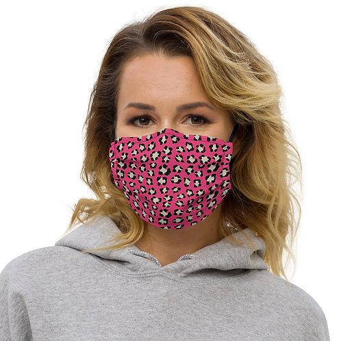 Valentine Dark Pink Leopard Print Premium Face Cover with Pocket
