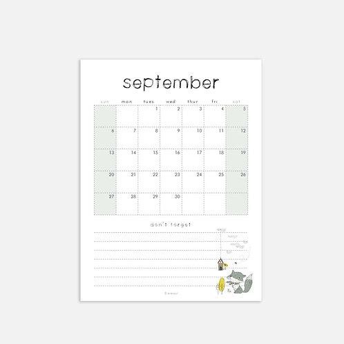Whimsical Ye. September 2020 Monthly Full Sheet Calendar